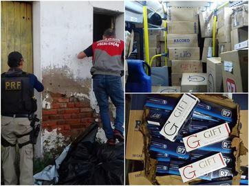 Cigarros eram escondidos em galpão de fazenda - Foto:  Divulgação/PRF-PB