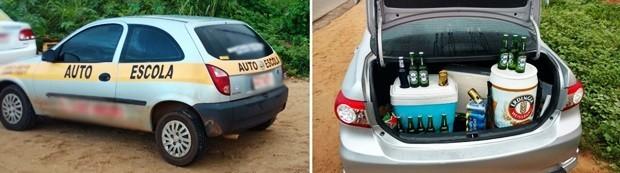 Carro de auto escola e um Corolla com a mala cheia de cervejas estão entre os 16 veículos apreendidos durante a operação (Foto: Divulgação/PM)